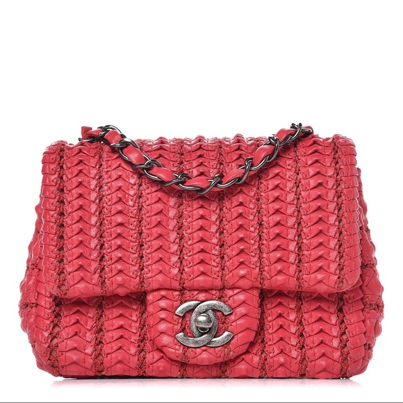 CHANEL Handbags - Chanel Lambskin Crochet Embroidered Small Flap Red